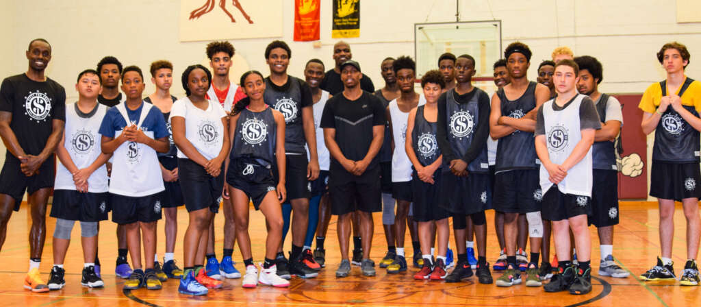 Fifty for Free participants with founder Jermaine Anderson and mentor Nate Mitchell of the Charlotte Hornets